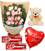 18 Pink Roses Bouquet,Bear,KitKat Chocolate with Balloon