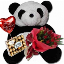 3 Feet Bear w/ 12 Red Rose & Valentine Gift