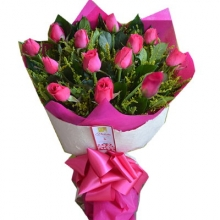 12 Pink Rose Bouquet