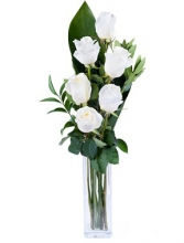 Six White Roses in Vase