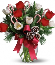 12 Red Roses & White Tulips in Vase