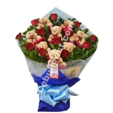 1 Dozen Red Rose & Mini bear