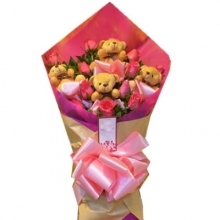 6 Pink Roses Bouquet & Mini Teddy
