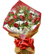 2 Dozen Red Roses with Seasonal Flower