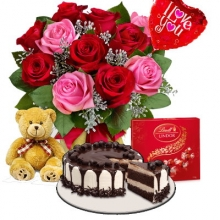 12 Mixed Roses in Bouquet,Cake,Chocolate Bear W/Balloons