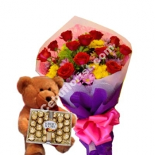 12 Red Roses,Teddy Bear W/Ferrero Rocher Chocolate