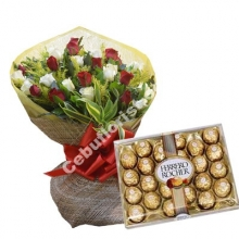 24 Red & White Roses W/Ferrero Rocher Chocolate