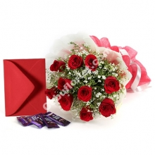 12 Red Roses, Dairy Milk Chocolate W/FREE Greeting Card