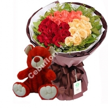 24 Mixed Roses W/Teddy Bear