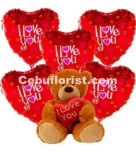 5pcs I Love You Balloons with Teddy Bear