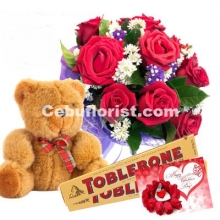 12 Red Roses,Toblerone Chocolate, Bear w/ FREE Greeting Card