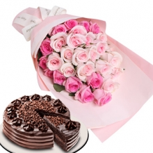 One Dozen Pink Roses with Ultimate Chocolate Cake