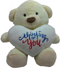 White Color Teddy Bear with Thinking Of You Text on Heart