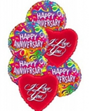 4pc Happy Anniversary & 2pc I Love You Balloon