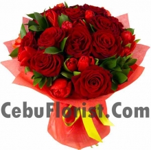 12 Fresh Red Rose Bouquet