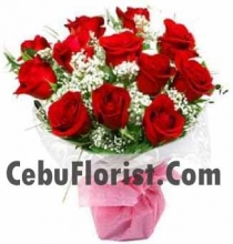 Valentines Beautiful 12 Pieces Red Rose Bouquet