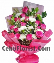 12 Pink Rose with White Carnations Flower
