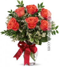 6 Pcs Orange Roses in Vase