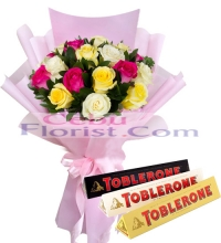 24 Mixed Roses in a Bouquet with Toblerone 3 assorted bar