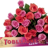 24 Pink & Orange Roses & Chocolate