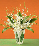 18pcs White Orchids in a Vase