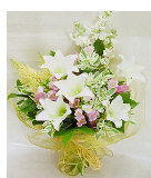 5pcs White Lilies w/ Fillers in a Bouquet
