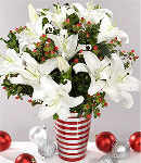 5 pcs White Lilies w/ Seasonal Fillers in a Vase