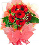 6 pcs Red Gerbera Bouquet