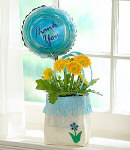 Yellow Gerbera w/ Balloon in a Vase