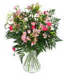 Vase Arrangement of Fresh Pinks Flowers