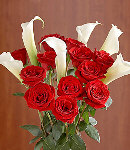 6 pcs Calla Lily & 1 Dozen Red Rose Bouquet