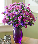 Purple & Pink Flowers in Vase