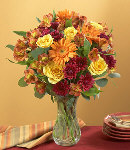 Mixed Seasonal Flowers in Vase