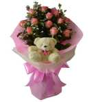 Pink Rose with  Teddy Bear