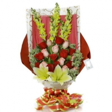 12 Pink & Red  Roses in a Bouquet