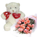 18 Peach Roses in Bouquet with Bear