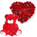 24 red roses heart shaped basket with Teddy Bear