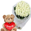 24 White Roses in Bouquet with Bear