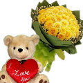 24 Yellow Roses in Bouquet with Bear