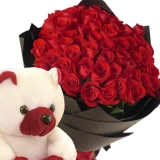 24 Red Roses in Bouquet with Bear