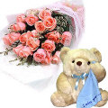24 Pink Roses in Bouquet with Bear
