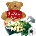 12 White Roses in Bouquet with Bear