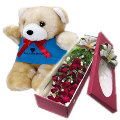 18 Red Roses in Box with Bear