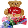 12 Red Roses in Box with Bear