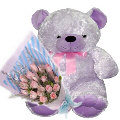 12 Peach Roses in Bouquet with Bear