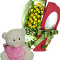12 Yellow Roses in Box with Bear