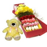 24 Multi Color Roses in Box with Bear