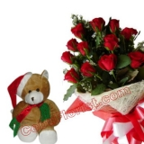 12 Red Roses And Christmas Bear