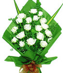 24 White Roses in Bouquet