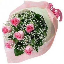 6 Pink Roses in a Bouquet
